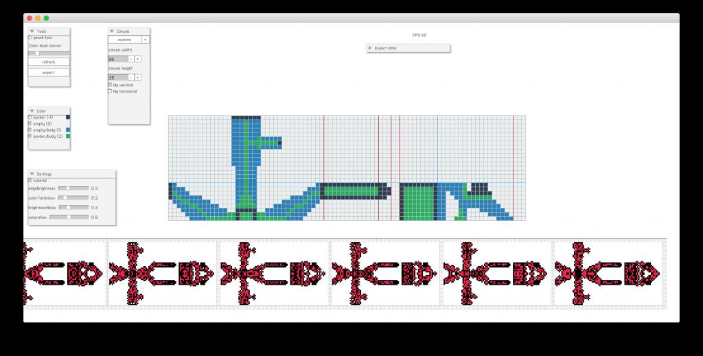 Flash export of the Pixel Sprite Generator Editor