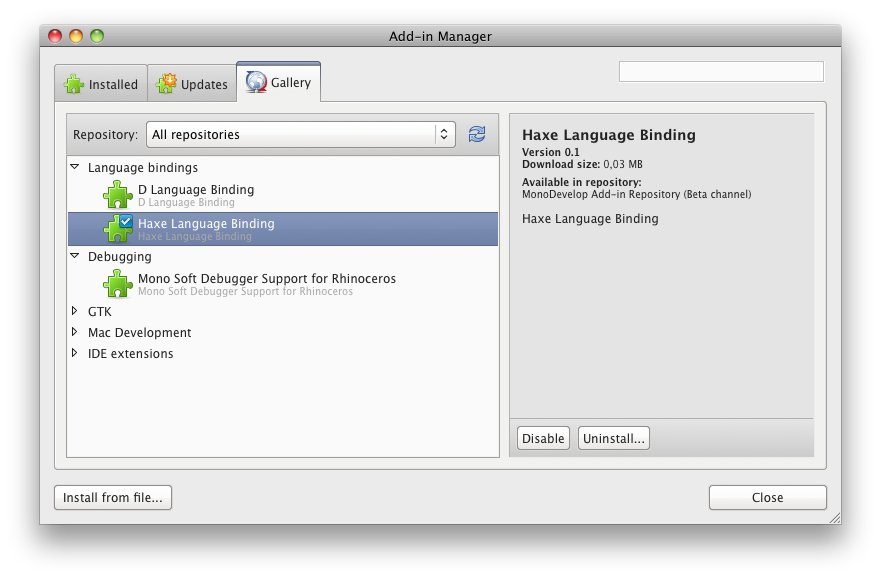Add-in Manager Monodevelop