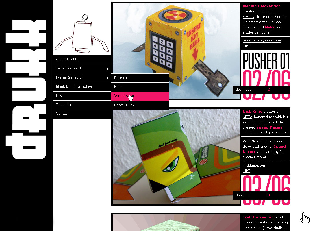 New homepage for Drukk, Selfish Series and Pusher Series