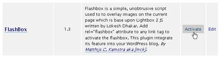 Activate FlashBox in WordPress admin