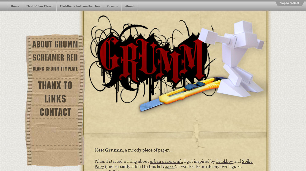 New Grumm homepage design